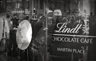 Black and White image of the Lindt Cafe shopfront